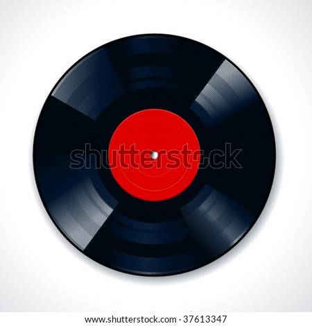 Vinyl disc on white background. Vector illustration.