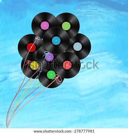 vinyl disks as balloons on watercolor background  - stock vector