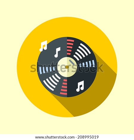 Vinyl music record. Flat long shadow design. Hipster icons series. - stock vector