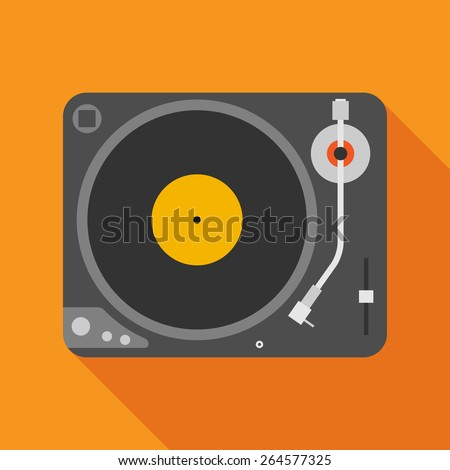 vinyl player icon with long shadow. flat style vector illustration - stock vector
