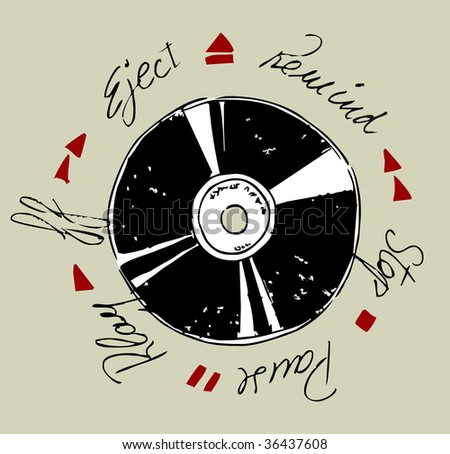 Vinyl record and written words of tape functions. - stock vector