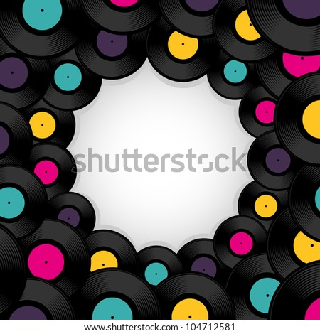 Vinyl record background with space for text. Vector illustration. - stock vector