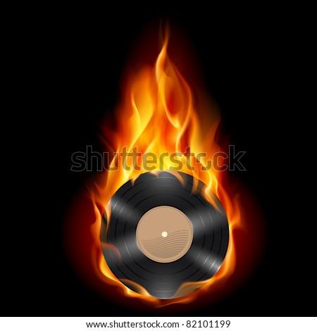 Vinyl record burning symbol. Illustration on black background - stock vector