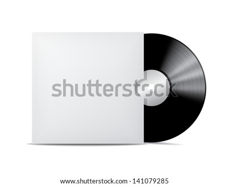 Vinyl record in blank cover envelope. Vector illustration - stock vector