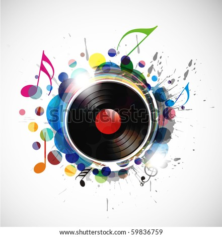 vinyl record on colorful background, vector illustration. - stock vector