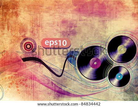 vinyl record on colorful texture background, vector illustration. - stock vector