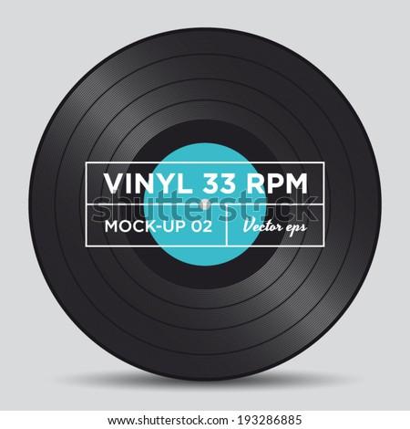 Vinyl record 33 RPM mock up 02 - stock vector