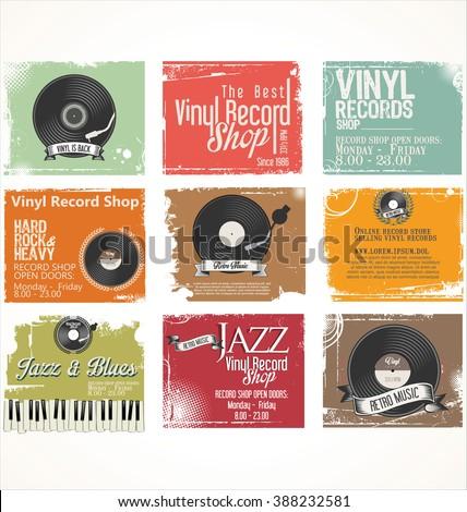 Vinyl record shop retro grunge banner - stock vector