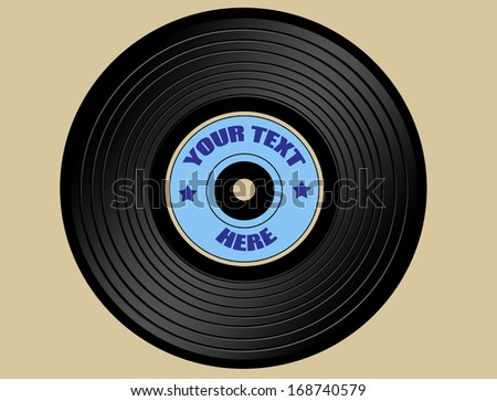 vinyl record with blue label, isolated on white, vector illustration - stock vector