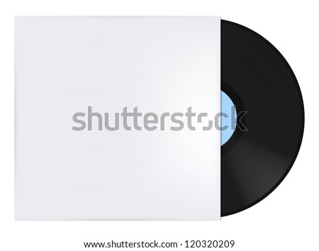Vinyl record with cover - stock vector
