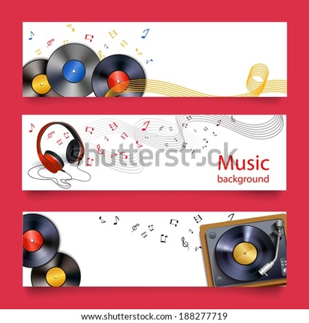 Vinyl records headphones and player horizontal banners vector illustration - stock vector