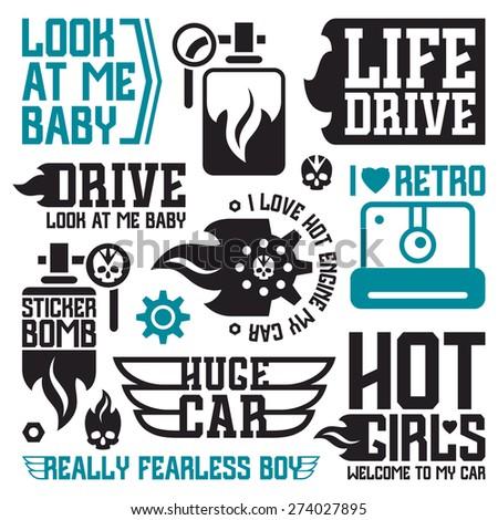 Vinyl Stickers Badges On Car Graphic Stock Vector - Vinyl stickers design