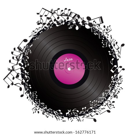 vinyl surrounded by music notes on white background - stock vector