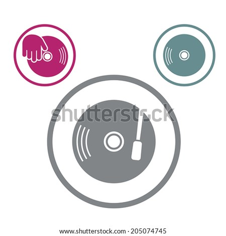 Vinyl with DJ hand vector icon isolated, single color vector music theme symbol for your design, 3 versions set. - stock vector