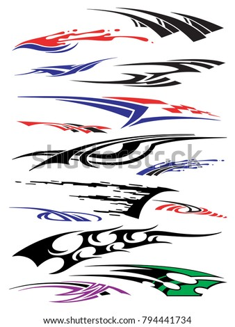 Vinyls decals for car motorcycle racing vehicle graphics in isolated vector format