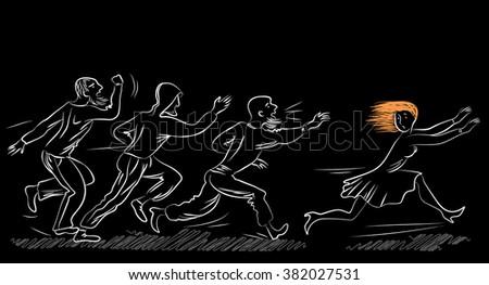 Violence against women. Social theme illustration. - stock vector