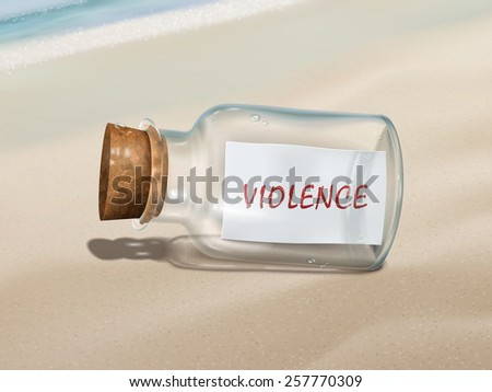violence message in a bottle isolated on beautiful beach - stock vector