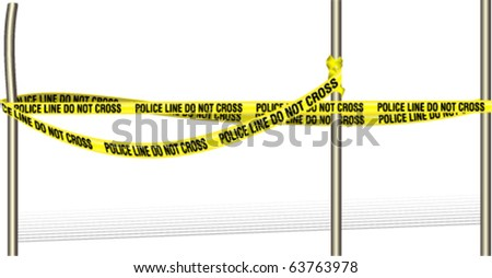 Violence scene with police line around the poles - stock vector