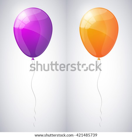 Violet and orange shiny glossy balloons. Vector illustration. - stock vector