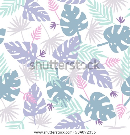 Violet and purple leafs tropical pattern. Seamless illustration