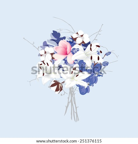 Violet and silver seamless vector bunch of flowers  Magnolia, lily, cotton, hydrangea, orchid  - stock vector