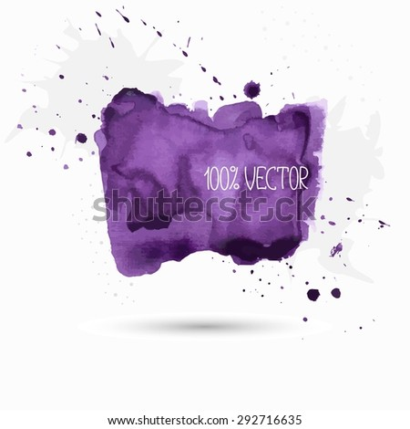 violet background of watercolor paint - stock vector