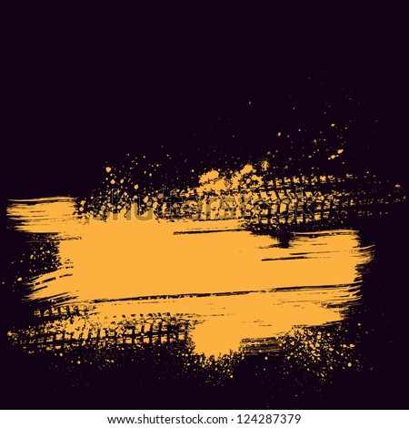Violet background with orange grunge splash and tire track - stock vector