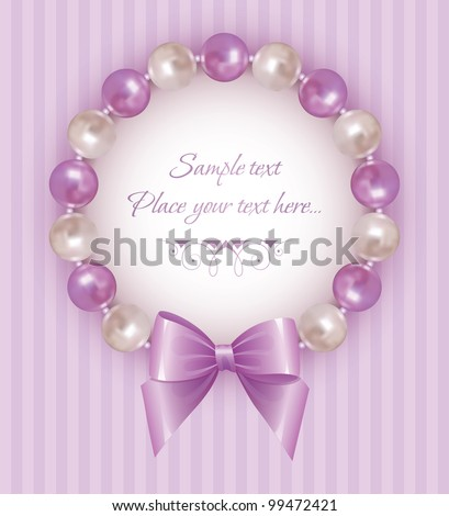 violet background with pearl bracelet and bow - stock vector