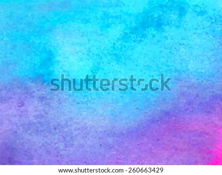 Violet blue watercolor hand drawn paper texture background. Wet brush painting smudges abstract vector colorful illustration. Water sea artistic template. Art design aquarelle card for banner, print - stock vector
