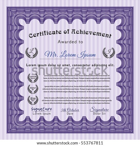 Violet Classic Certificate template. Vector illustration. With great quality guilloche pattern. Money Pattern design.