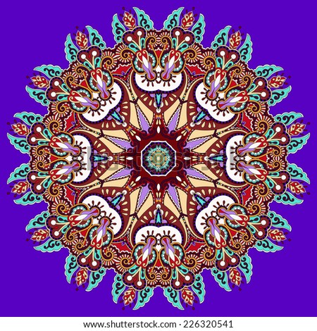 violet colour mandala, circle decorative spiritual indian symbol of lotus flower, round ornament pattern, vector illustration