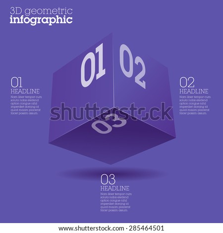 Violet cube infographic design / abstract form suitable for infographics, book cover or web banner or user interface