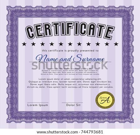 violet diploma template certificate template complex stock vector  violet diploma template or certificate template complex background detailed excellent design