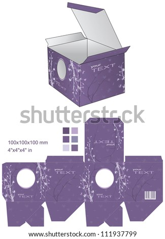 Violet flowers decorative box - stock vector
