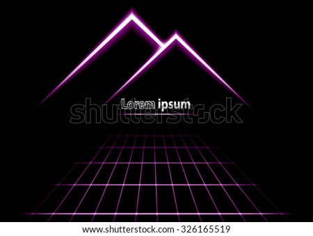 Violet glitter abstract futuristic perspective background with simple mountain logo. Vector illustration - stock vector