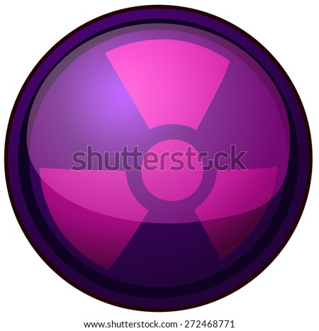 Violet Glossy Round Nuclear Sign, Vector Illustration isolated on White Background.  - stock vector