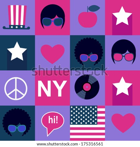 violet hippie pattern - stock vector
