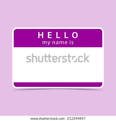Violet Name Tag Blank Sticker HELLO My Is Rounded Rectangular Badge With Gray Drop