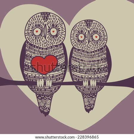violet owl couple - stock vector