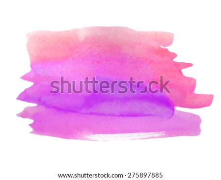 Violet pink orange watercolor strokes hand drawn isolated stain on white background. Wet brush painted striped abstract vector paper texture illustration. Design artistic card, banner, print, element - stock vector