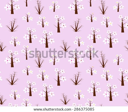 Violet seamless pattern with thorn trees and flowers - stock vector