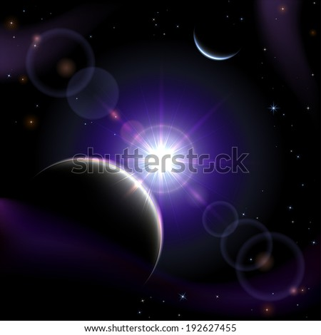 Violet space background with planet and shining sun, illustration.