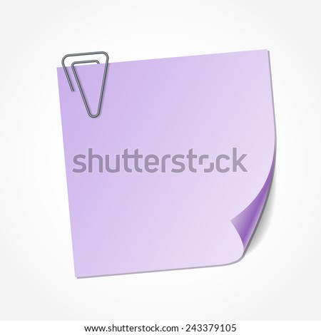 Violet sticky note isolated on white background, vector illustration. Clip in the shape of triangle - stock vector