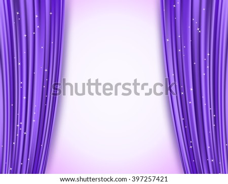 violet theater curtains with glitter - stock vector