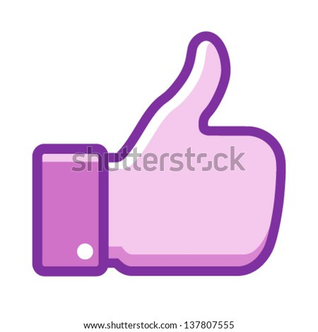 Violet thumb up icon, vector illustration - stock vector