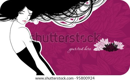 Violet wedding card with beautiful girl - stock vector