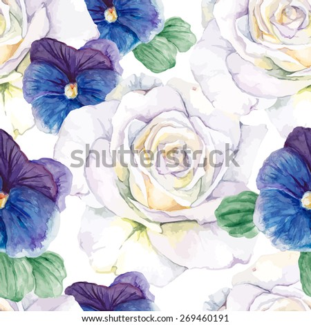 Violets and white watercolor roses. Seamless vector pattern - stock vector
