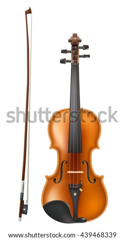 violin and a bow realistic vector on white - stock vector