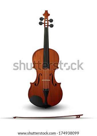Violin and bow over white background - stock vector