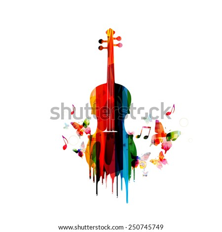 Violin colorful design - stock vector